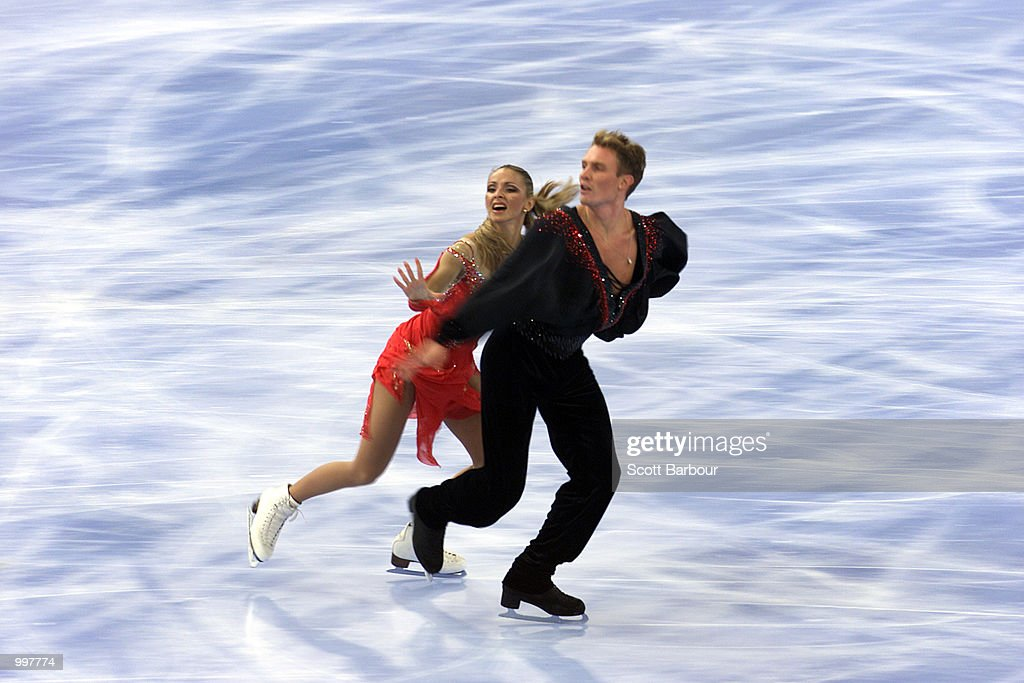 Tatiana Navka and Roman Kostomarov of Russia in action whilst winning bronze in the Free Dance during the Figure Skating held at the Brisbane Entertainment Centre at the Goodwill Games in Brisbane, Australia. DIGITAL IMAGE. Mandatory Credit: Scott Barbour/ALLSPORT