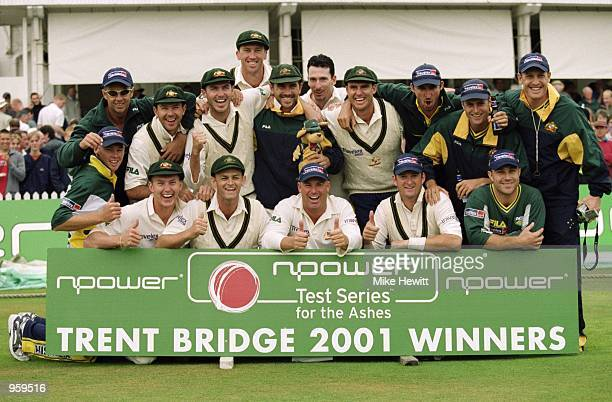 The Australian Team celebrate winning the Third Ashes Test match and the series against England played at Trent Bridge in Nottingham, England. \...
