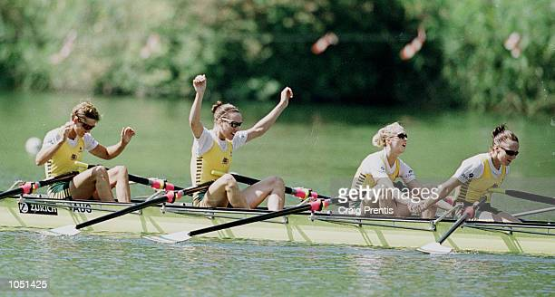 The Australian women's lightweight quadruple sculls team [from left to right Catriona Roach Sally Causby Amber Halliday and Josephine Lips] celebrate...