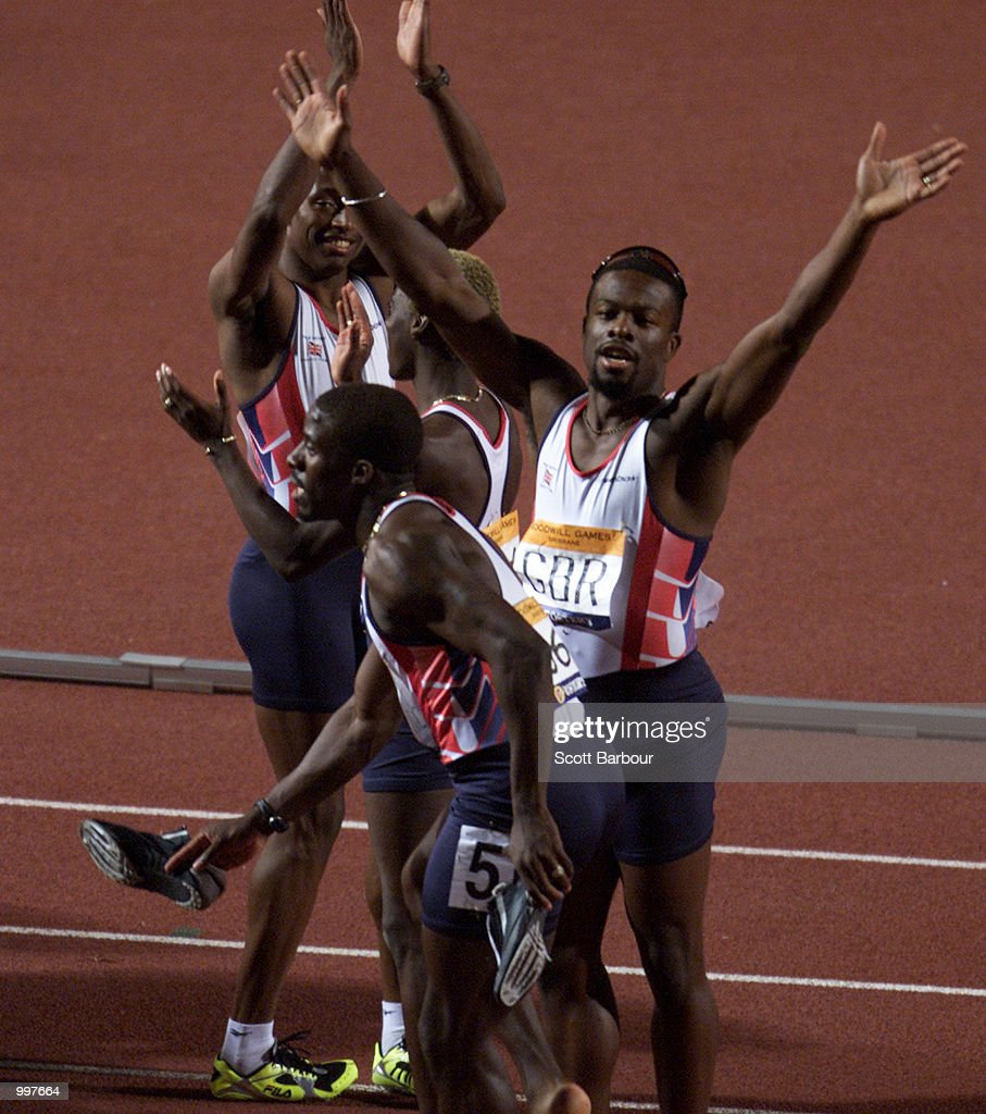 The Great Britain team celebrate after winning the Mens 4 x 100 Metres relay at the athletics held at ANZ Stadium at the Goodwill Games in Brisbane, Australia. DIGITAL IMAGE. Mandatory Credit: Scott Barbour/ALLSPORT