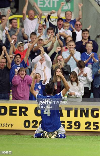 Tim Cahill of Millwall celebrates scoring a goal during the Nationwide League Division One match against Norwich City played at The New Den in London...