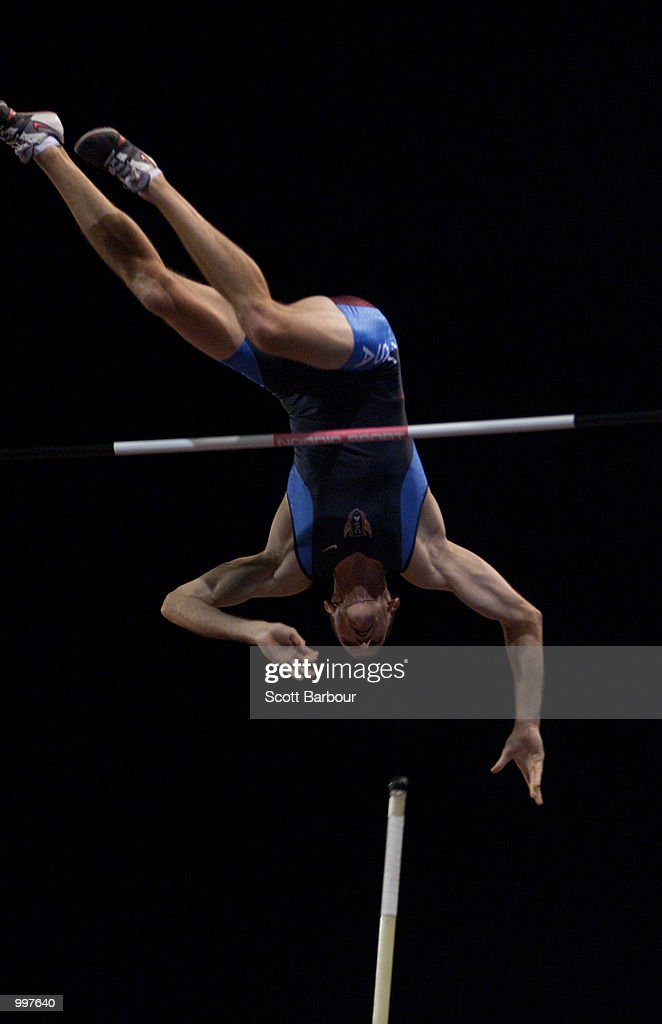 Tim Mack of USA in action during the Men's Pole Vault at the athletics held at ANZ Stadium at the Goodwill Games in Brisbane, Australia. DIGITAL IMAGE. Mandatory Credit: Scott Barbour/ALLSPORT