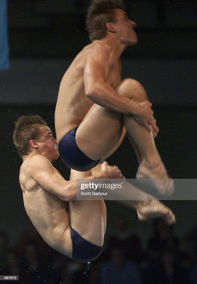 Troy Dumais and Justin Dumais of USA in action in the Mens Platform Synchro held at the Chandler Aquatic Centre at the Goodwill Games in Brisbane, Australia. DIGITAL IMAGE. Mandatory Credit: Scott Barbour/ALLSPORT
