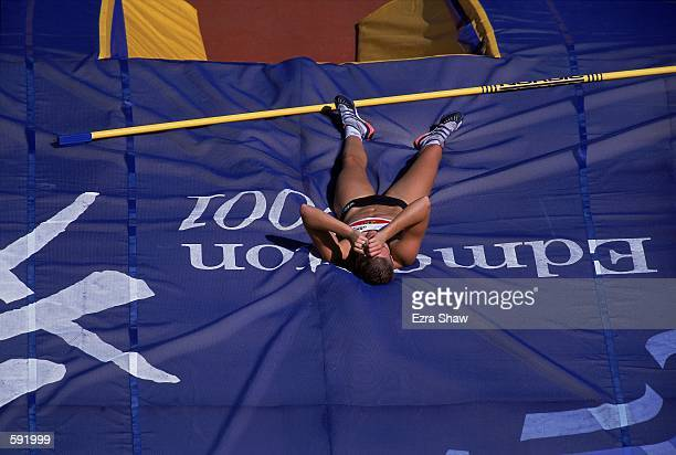 Yvonne Buschboom of Germany laying on the matt during the Women's Pole Vault Final Event for the IAAF World Championships at the Commonwealth Stadium...