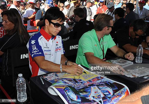 ABC Supply AJ Foyt Racing driver Takuma Sato signing autographs during a driver autograph signing session before the MAVTV 500 Verizon IndyCar Series...
