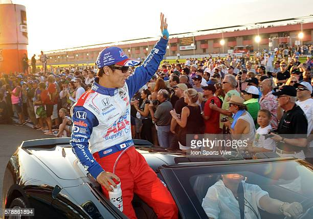 ABC Supply AJ Foyt Racing driver Takuma Sato waves to the fans during diver introduction before the start of the MAVTV 500 Verizon IndyCar Series...