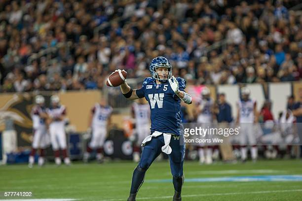 Aug 2014 Bombers Drew Willy goes back to pass during the Alouettes vs Bombers game at the Investors Group Field in Winnipeg MB.