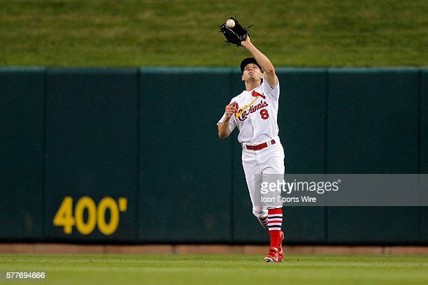 St Louis Cardinals center fielder Peter Bourjos catches for an out during the game against the San Diego Padres at Busch Stadium in St Louis Missouri...