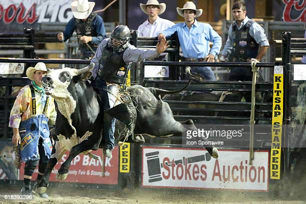 Markus Mariluch scored a 60 while riding the bull Legitimate Cash during the Bull Riding competition at the Kitsap County Fair and Stampede in...