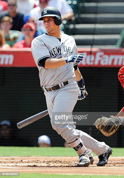 New York Yankees catcher Gary Sanchez in action during the first inning of a game against the Los Angeles Angels of Anaheim played at Angel Stadium...