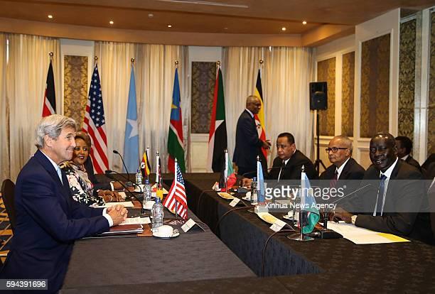 NAIROBI Aug 22 2016 US Secretary of State John Kerry first left Kenyan Foreign Minister Amina Mohamed second left South Sudanese Foreign Minister...