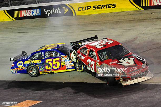 Clint Bowyer Richard Childress Racing Chevrolet Impala SS hits a spinning Michael Waltrip MWR Toyota Camry in the Sharpie 500 NASCAR Sprint Cup...