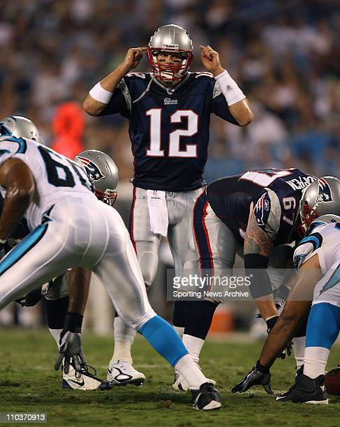 Aug 24 2007 Charlotte NC USA New England Patriots TOM BRADY against Carolina Panthers on Aug 24 2007 in Charlotte NC The New England Patriots won 247
