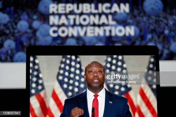 Aug. 24, 2020 -- Photo taken in Arlington, Virginia, the United States, Aug. 24, 2020 shows a computer screen displaying Senator Tim Scott of South...