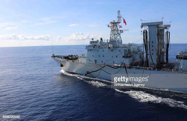 OCEAN Aug 25 2017 Chinese Navy's supply vessel Chaohu tries to replenish fuel for the destroyer Changchun in western Indian Ocean waters on Aug 25...