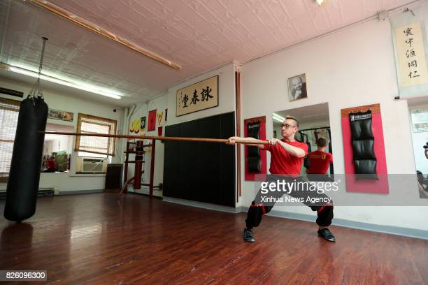 Alex Richter shows the Pole Form in Wing Tsun at his Kung Fu school 'City Wing Tsun' in New York the United States July 17 2017 Hidden in the midtown...