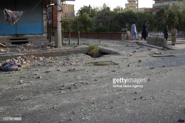 Aug. 3, 2020 -- Photo taken on Aug. 3, 2020 shows the site of an attack in Jalalabad city, Nangarhar province, Afghanistan. Afghan forces after...