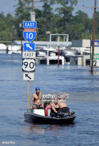 Aug 31 2017 A boat is seen on a flooded highway in Beaumont Texas the United States Aug 31 2017 Nearly 40 people died or are feared dead in flooding...