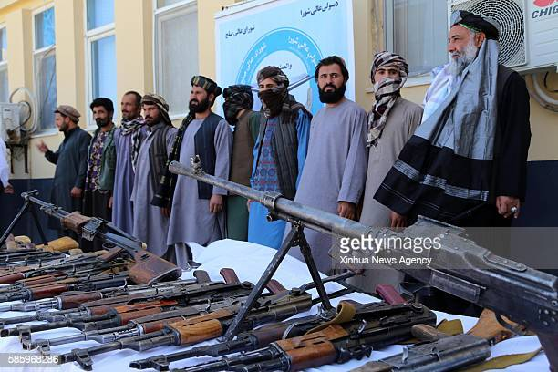 HERAT Aug 4 2016 Taliban fighters attend a surrender ceremony in Herat province Afghanistan Aug 3 2016 Some 13 Taliban fighters gave up fighting in...