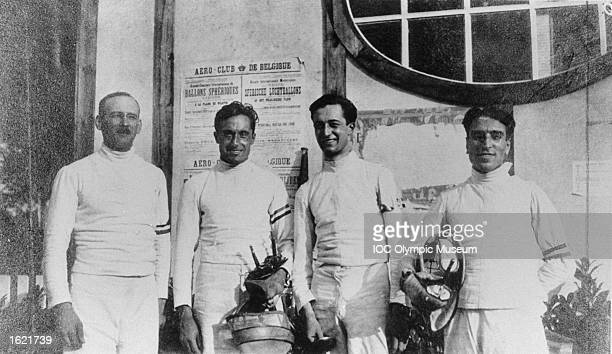 The Italian Fencing team including Aldo Nadi and Nedo Nadi posing during the 1920 Olympic Games in Antwerp Belgium The Italian team won gold medals...