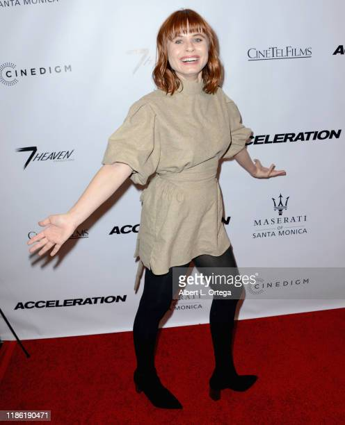 Augie Duke arrives for the Premiere Of Acceleration held at AMC Broadway 4 on November 5 2019 in Santa Monica California