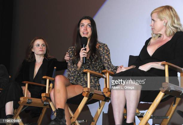 Augie Duke Emilie Dhir and Bethany Brooke Anderson answer questions during the Q A portion of the Premiere Of Burning Kentucky held at Fine Arts...
