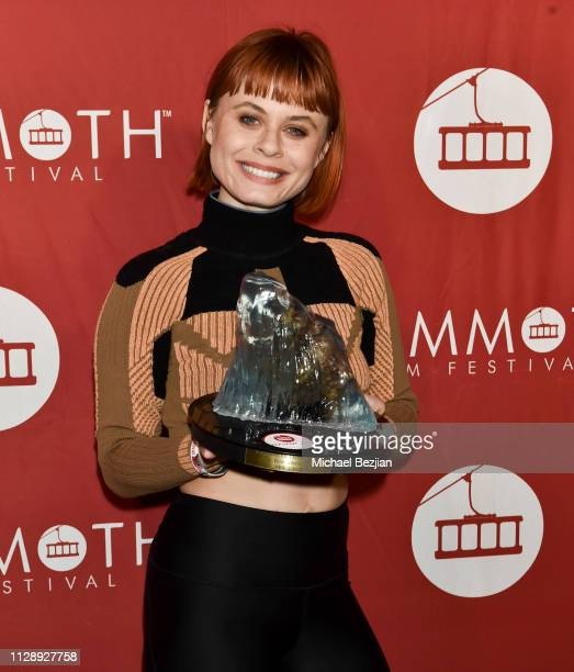 Augie Duke poses for portrait with award for Best Actress Feature at the 2nd Annual Mammoth Film Festival on February 10 2019 in Mammoth California