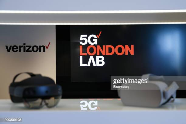 Augmented reality and virtual reality headsets sit on display at Verizon Communications Inc's 5G tech showroom and production studio in London UK on...