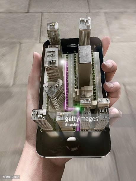augmented reality map on a smartphone - erweiterte realität stock-fotos und bilder