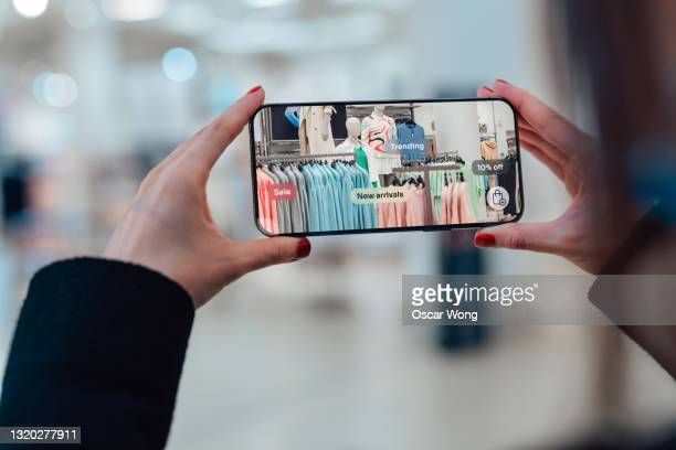 augmented reality retail marketing concept - digital viewfinder stock pictures, royalty-free photos & images