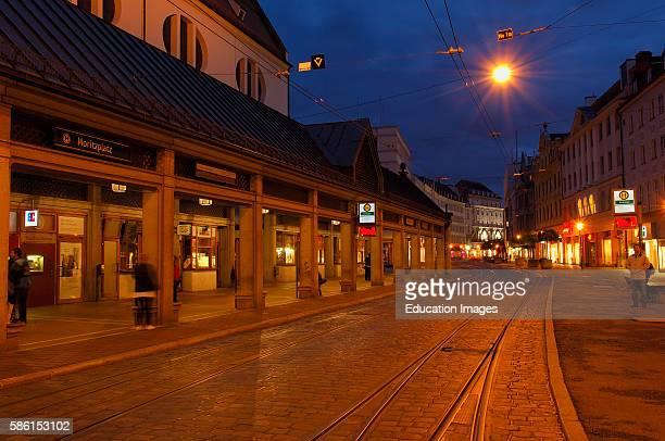Augsburg, Maximilianstrasse, Maximilian street, Romantic Road, Romantische Strasse, Swabia, Bavaria, Germany.