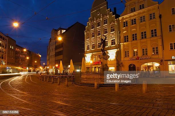 Augsburg, Moritzplatz, Market square, Maximilianstrasse, Maximilian street, Mercury Fountain, Romantic Road, Romantische Strasse, Swabia, Bavaria,...