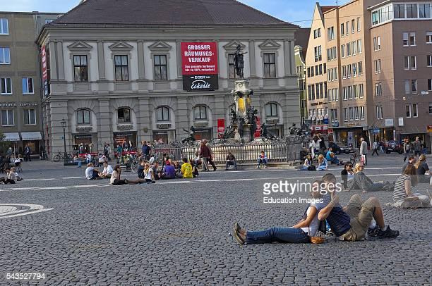 Augsburg, Rathausplatz, Town Hall Square, Romantic Road, Romantische Strasse, Swabia, Bavaria, Germany Europe.