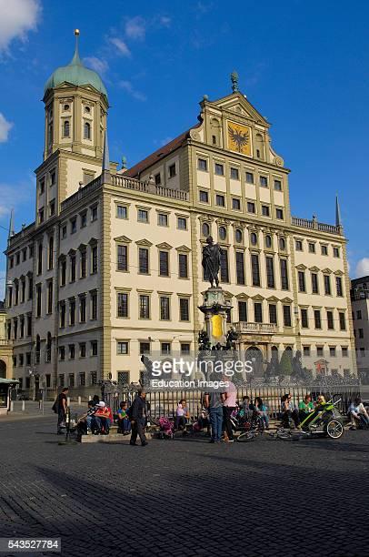 Augsburg, Rathausplatz, Town Hall Square, Town Hall, Romantic Road, Romantische Strasse, Swabia, Bavaria, Germany Europe .