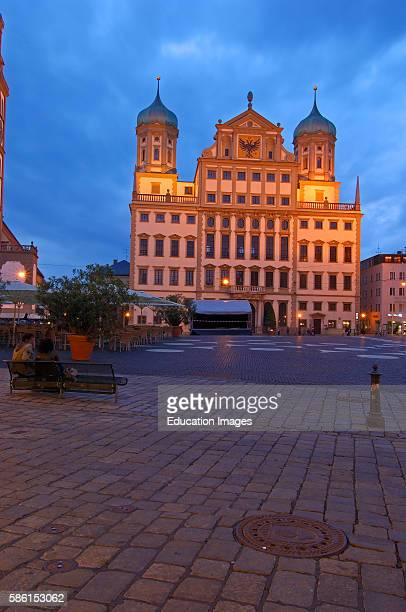 Augsburg, Rathausplatz, Town Hall Square, Town Hall, Romantic Road, Romantische Strasse, Swabia, Bavaria, Germany.