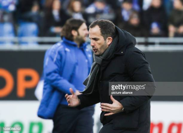 Augsburg's coach Manuel Baum on the edge of the field during the German Bundesliga soccer match between Darmstadt 98 and FC Augsburg in the...