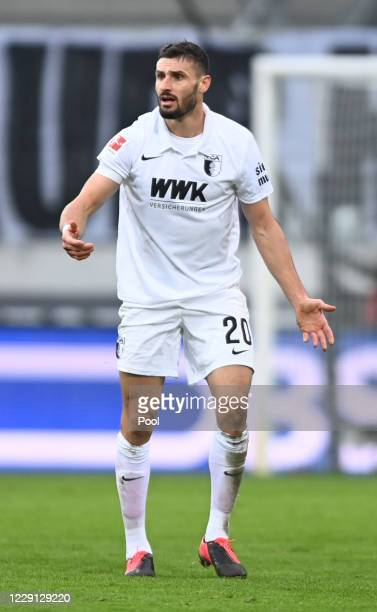 Augsburg's Daniel Caligiuri reacts during the German Bundesliga soccer match between FC Augsburg and RB Leipzig at WWK-Arena on October 17, 2020 in...