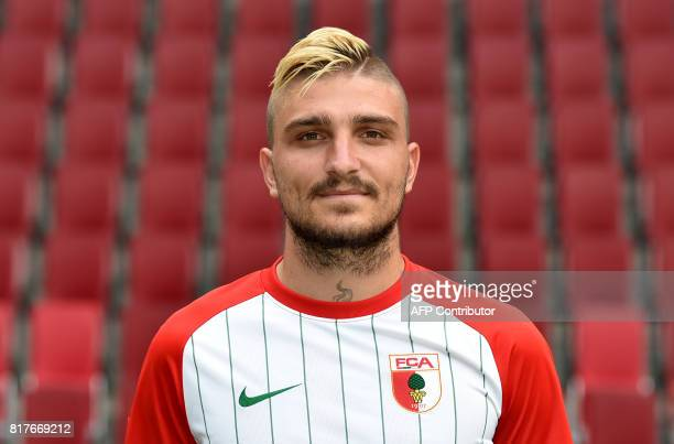 Augsburg's Greek defender Konstantinos Stafylidis poses during a team presentation of the German first division Bundesliga football team FC Augsburg...