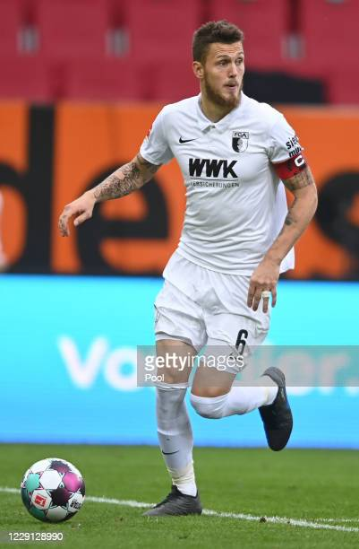 Augsburg's Jeffrey Gouweleeuw in action during the German Bundesliga soccer match between FC Augsburg and RB Leipzig at WWK-Arena on October 17, 2020...