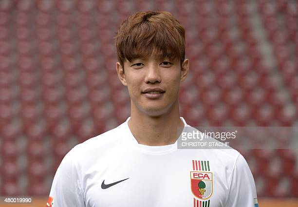 Augsburg's Korean defender JeongHo Hong poses during the team presentation of the German first division Bundesliga team FC Augsburg at the stadium in...