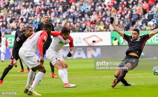 Augsburg's Korean midfielder Koo JaCheol scores the first goal during the German first division Bundesliga football match 1 FC Augsburg vs Eintracht...