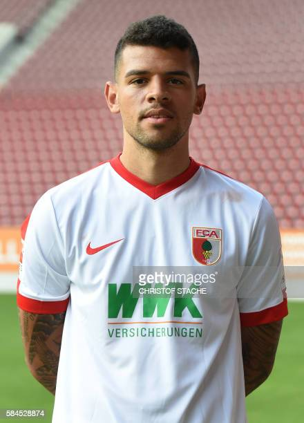 Augsburg's midfielder Shawn Parker poses during a team presentation of the German first division Bundesliga team FC Augsburg 1907 in Augsburg...