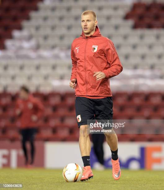 Augsburg's Ragnar Klavan in action during a training session in Anfield Stadium in Liverpool Great Britain 24 February 2016 FC Augsburg and...