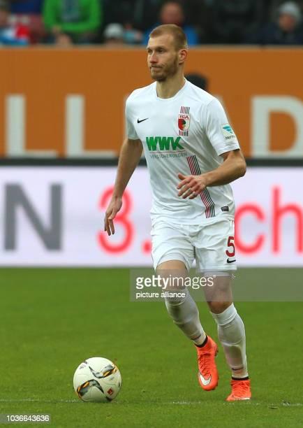 Augsburg's Ragnar Klavan in action during the German Bundesliga soccer match between FC Augsburg and Borussia Moenchengladbach at the WWKArena in...