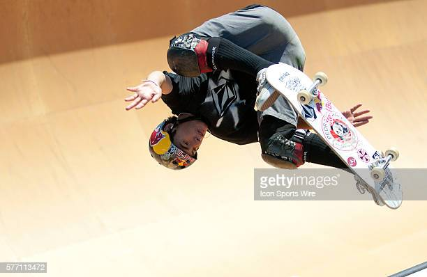 Pedro Barros competes in the Maloof Money Cup 2010 Carl's Jr Pro Vert Contest at the Action Sports Arena inside the Orange County Fair in Costa Mesa...