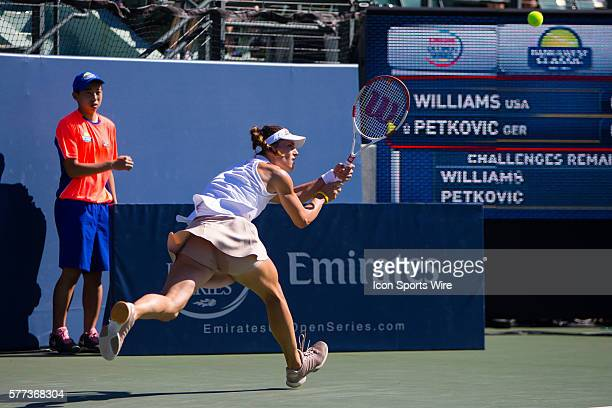 Venus Williams plays Andrea Petkovic during quarterfinal action in the Bank of the West Classic tennis tournament at the Taube Family Tennis Center...