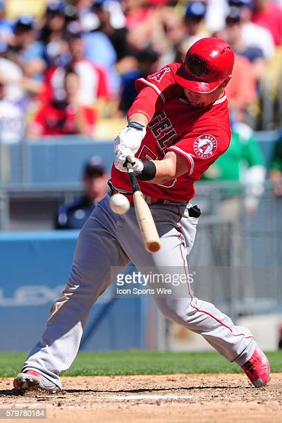Los Angeles Angels of Anaheim Right field Kole Calhoun [9429] hits a home run during the game between the Anaheim Angels and the Los Angeles Dodgers...