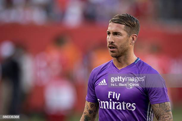 August 03, 2016 Real Madrid Defender Sergio Ramos warms up during the International Champions Cup match between FC Bayern Munich vs Real Madrid,...