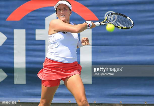 Irina Falconi during a WTA second round match against Samantha Stosur at the CITI Open tennis tournament at Rock Creek Tennis Center in Washington...