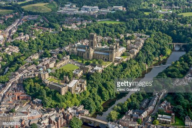 DURHAM ENGLAND August 06 Aerial view of the Gothic style Durham Cathedral also known as The Cathedral Church of Christ Blessed Mary the Virgin and St...
